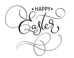 vector testo di Pasqua felice su sfondo bianco. Illustrazione EPS10 di vettore dell'iscrizione di calligrafia