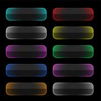 set of colorful neon web buttons