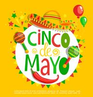 Cinco De Mayo, lettering on holiday background. vector