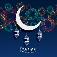 ramadan kareem fireworks background decoration