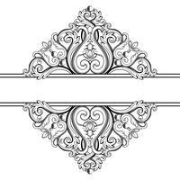 Marco ornamental de la vendimia. Ilustración vectorial en colores blanco y negro