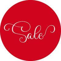 Mots vente ronde autocollant rouge isolé sur blanc. Illustration vectorielle