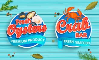 Seafood emblems on blue wooden background