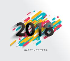 New Year 2018 card on modern background.