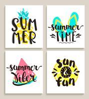 Tarjetas de verano brillantes sobre fondo blanco. vector