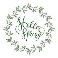 Words Hello Spring with leaves wreath