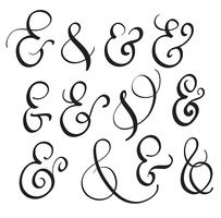 vector set Vintage sign And on white background. Calligraphy lettering illustration EPS10