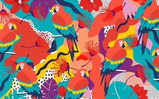 Tropical jungle leaves and flowers poster background with parrots