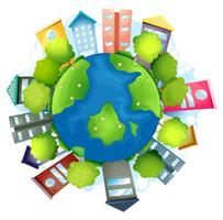 La terre avec les bâtiments artificiels et les ressources naturelles