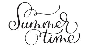 Text summer time on a white background. Calligraphy lettering Vector illustration EPS10