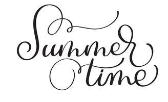 Text sommartid på en vit bakgrund. Kalligrafi bokstäver Vektor illustration EPS10