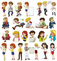 Business people doing different activities vector