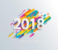 Tarjeta de diseño de año nuevo 2018 sobre fondo moderno.