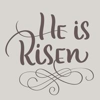 He is Risen text on beige background. Calligraphy lettering Vector illustration EPS10
