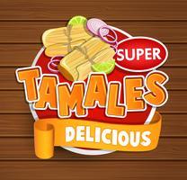 Tamales logo délicieux, symbole, autocollant.
