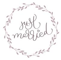 Just Married text in leaves round frame. Hand drawn Calligraphy lettering Vector illustration EPS10