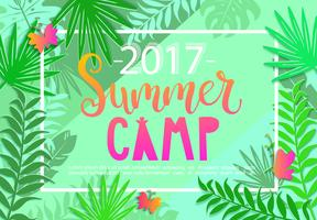 Summer camp 2017 lettering on jungle background.