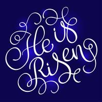 Ele é o texto ressuscitado no fundo azul. Caligrafia, lettering, vetorial, ilustração, EPS10
