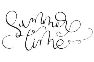 Sommerzeittext auf weißem Hintergrund. Hand gezeichnete Kalligraphie, die Vektorillustration EPS10 beschriftet