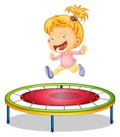 A girl playing trampoline