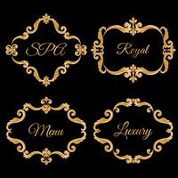 Set collection of ornamental vintage frames with sample text in golden yellow color. vector