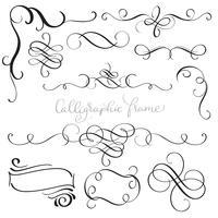 Satz von Vintage Flourish dekorative Kunst Kalligraphie Whorls für Design. Vektorabbildung EPS10