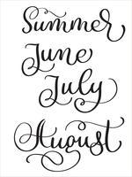 sommarmånader juni juli augusti ord på vit bakgrund. Handritad vintage kalligrafi bokstäver Vektor illustration EPS10