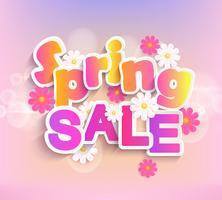 Étiquette de vente de printemps, 50% de réduction.