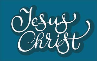 Vektortext Jesus Christus auf blauem Hintergrund. Kalligraphiebeschriftungsillustration EPS10