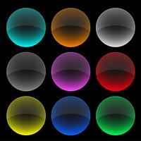 colorful circle glass buttons or banners set