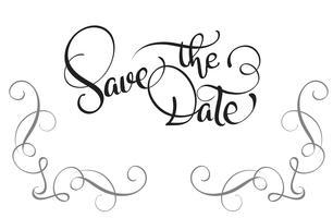 Salva il testo della data su sfondo bianco. Illustrazione EPS10 di vettore dell'iscrizione di calligrafia