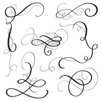 set of vintage flourish decorative art calligraphy whorls for design. Vector illustration EPS10