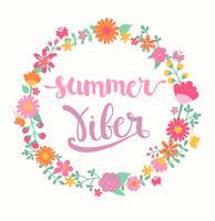 Summer viber lettering in floral circle.