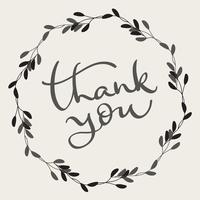 Thank you text with round frame on background. Calligraphy lettering Vector illustration EPS10