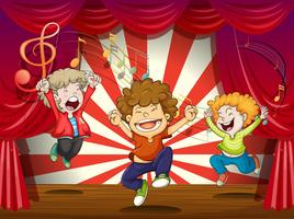 Kids singing at the stage vector