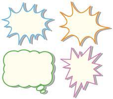 Vier kleurrijke tekstballonnen sjablonen