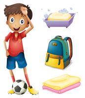 Um, jogador futebol, com, seu, mochila, e, banheiro, materiais