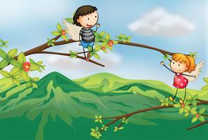 Una ragazza e un ragazzo in un ramo di un albero