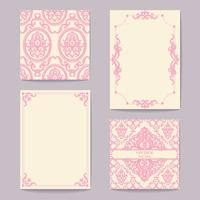 Set collections of cards vintage design elements. Patterns, frames