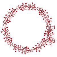 Marco redondo rojo de hojas aisladas sobre fondo blanco. Ilustración vectorial eps10