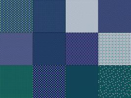 piccoli motivi geometrici verde blu