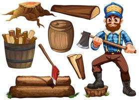 Lumberjack and firewood