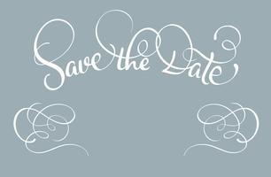 Salva il testo della data su sfondo grigio. Illustrazione EPS10 di vettore dell'iscrizione di calligrafia