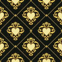 Sacred heart and golden chain on dark brown background. Seamless pattern. Vector illustration