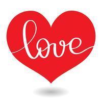 Amo la parola nel cuore rosso. Vector calligrafia e lettering EPS10