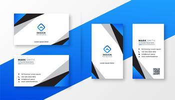 disegno geometrico blu biglietto da visita professionale