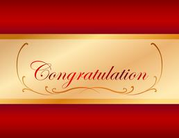 Congratulation card template with red background