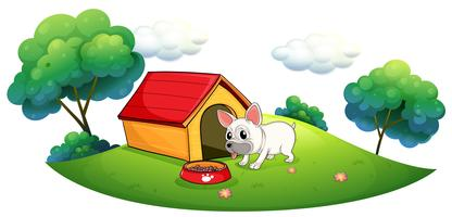 A doghouse and a dog in an island vector