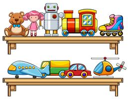 Many toys on the shelves