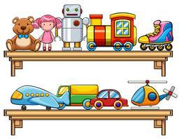 Muchos juguetes en los estantes